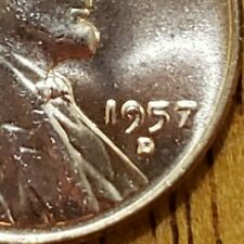 1957-D Lincoln Cent Die Chip OBV KM# 132 #AA128-8