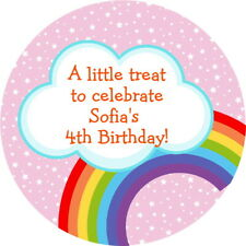 PERSONALISED GLOSS PINK RAINBOW BIRTHDAY PARTY STICKERS SWEET CONE LABELS