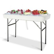 4Ft Ice Chests Coolers Table Foldable Yard Garden Plastic Matching Skirt Outdoor