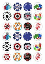 24 POKER CHIP CHIPS  CUPCAKE TOPPER ICED  ICING EDIBLE FAIRY CAKE BUN TOPPERS