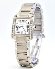 Bezel Automatic Steel Watch Cartier Tank Francaise 2302 Diamond
