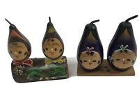 Japan Vtg Kokeshi Lot of 2 Wooden Vegetable Eggplant Anthropomorphic kitsch