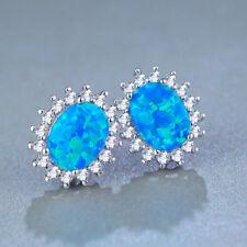 Royal Style Handmade Jewelry Blue Fire Opal Gemstone Silver Woman Stud Earrings