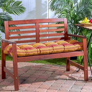 """Porch Swing Cushion Glider Bench Seat 52"""" Tufted Padded Patio Pillow Striped Red"""