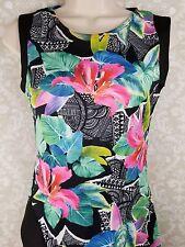 QUIZ Women's Bodycon Fitted Tropical Tiki Wiggle Dress Size 10