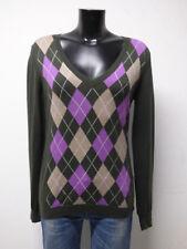 Damen Strickpullover Pullover 50/% Baumwolle NorwegerArt weiß-lila Gr 56 NEU A396