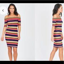 Trina Turk M Necha Stripe Off Shoulder Sweater Bodycon Sheath Dress pre-Loved