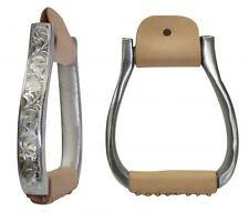 Engraved Polished Silver Western Horse Saddle Pleasure Barrel Racing Stirrups
