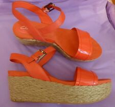 Clarks UK6 EU39 US8 coral Onslow Beat leather wedge sandals - little if any wear