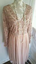 Vtg 1920,s style Gatsby nude beaded sequin wedding prom dress size 16/18 uk