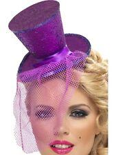 Ladies Fancy Dress Mini Top Hat Glitter Hat on Alice Band Purple by Smiffys New