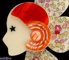 LEA STEIN FIGURAL FLORAL PETAL COROLLE ART DECO GIRL BROOCH PIN FRENCH RESIN