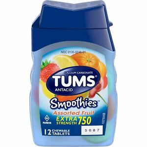 TUMS Smoothies Extra Strength Antacid, Assorted Fruit, 12 Chewable Tablets