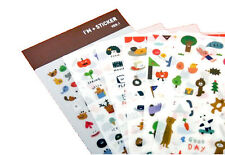 6 sheets Cartoon animals Monster Food Kids stickers Diary Notebook label mark