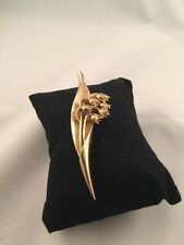 TRIFARI Lily Of The Valley Gold Tone Pin Lovely Vintage Garden Flowers Brooch