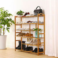 6Tier Bamboo Shoe Rack Cabinet Bench Wooden Storage Organiser Shelf Racks