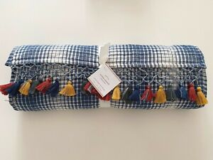 NWT Pottery Barn Quilted CYPRESS Tassel Plaid Table RUNNER 18 x 90 in