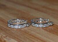 Lovely 18ct/18k White Gold Filled Hoop Earrings Made With Swarovski Crystal