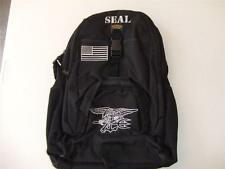 US NAVY SEAL MEDIUM  BACKPACK DAY PACK  BOOK COMPUTER  BAG  BLACK  EMBROIDERED