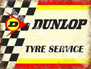 Vintage Garage Dunlop Tyres, Motorsport Car 154 Racing Old, Large Metal Tin Sign
