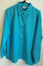 Chico's 3 (16-18) turquoise polyester peach skin L/S button down shirt EUC