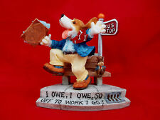 """I Owe I Owe So Off To Work I Go"" Beagle Enesco-""98 Figurine David Olsen-#348902"