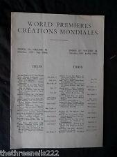 INTERNATIONAL THEATRE INSTITUTE WORLD PREMIER - INDEX TO VOL 11 OCT 1959 to JULY