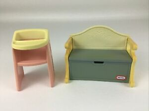 Little Tikes Vintage Dollhouse Furniture Lot Baby High Chair and Toybox Bench