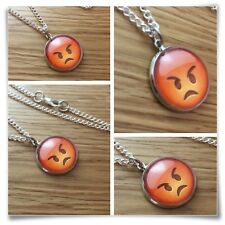 Emoji face Angry mad Charm pendant necklace txt geek