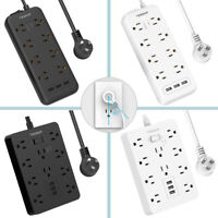 Mountable Heavy Duty Surge Protector Power Strip With Multi Outlet 3USB 5ft Cord