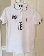 Ralph Lauren Men's USA Polo Shirt Custom Fit Number 16 White Large NWT