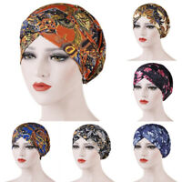 Women Printed Hair Loss Chemo Cap Muslim Islamic Vintage Turban Hijab Wrap Hat U