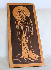 Großes Handgeschnitztes wandrelief Madonna mit Jesus - Kind