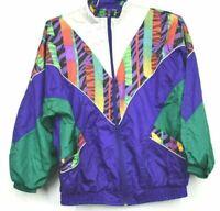 Vintage Bold Spirit Zip Up Abstract Light Weight Windbreaker Jacket Medium