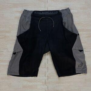 FOX Racing Mountain Bike Cycling Bicycle Gray Black Baggy Padded Shorts Size 34