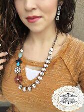 "Amari necklace 18""-25"" adj  Plunder Jewelry rhinestone bling  vintage brooches"