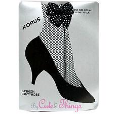 Black Fishnet Pantyhose with Polka Dot Ankle Bow Stockings Leggings