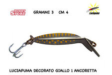LUCIAPUMA ARTIFICIALE TROTA MOD 4  3 GR  3 CM DECORATO GIALLO 1 ANCORETTA