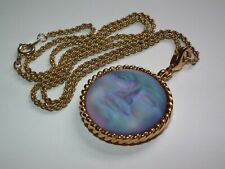 "Superb Vintage Kirks Folly Seaview Moon Love Never Dies Gilt Pendant 18"" Chain"