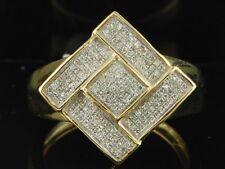 Diamond Pinky Ring Designer Mens 10K Yellow Gold Square Statement Band 0.33 Ct.