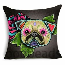 "SUGAR SKULL CUSHION COVER 17"" Day of the Dead DOG Black Grey Pink Blue * TAN PUG"