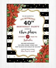 Christmas Adult Birthday Invitation Red Gold Party Invite Poinsettia Floral