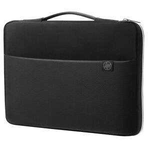 """NEW HP Laptop Carry Sleeve 14 14"""" Notebook Bag Case 3XD34AA Black/Silver Zipped"""