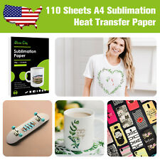 110 Sheets A4 Dye Sublimation Heat Transfer Paper Cotton Polyester Mugs Iron On