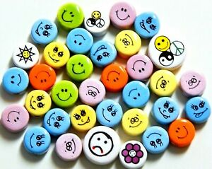 BEADS CERAMIC HAPPY FACE EMOJI ROUND DISC 14-21mm MIXED LOT 35pc SALE