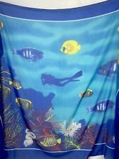 New listing Large Underwater Scene Scuba Diver Wrap Sarong Tapestry Red Sea Divers