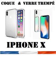 Pour Apple iPhone X - Lot COQUE Gel + vitre protection verre trempe film écran