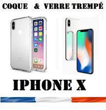 Pr Apple iPhone X  Lot COQUE Gel + vitre protection verre trempé film d'écran
