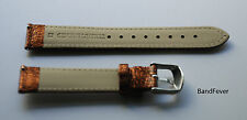 18mm Metallic Orange/Gold Leather interchangeable Watch Strap, Band Fits ALL