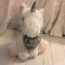 Seated Fluffy 11� White Unicorn 'You'Re Magical Soft Toy Plush - See Other Items